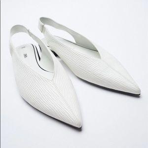 Zara LOW HEEL POINTED TOE SLINGBACK FLATS White BN